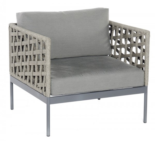Sonnenpartner Lounge-Sessel Vogue, Kunststoffrundgeflecht Polyrope, grau