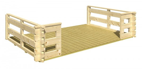 Skan Holz Terrasse 300/340/380 x 200 cm, passend für 45 mm Blockbohlenhäuser