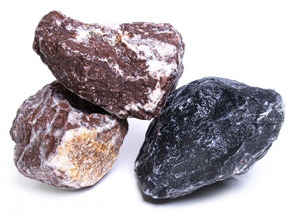 Gabionensteine / Bruchsteine Alpenmix, Körnung 60-150 mm, grau-rot-schwarz-weiß